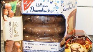 From Germany: Lindt Edel-Nougat, Lindt Caramel Mandelkrokant & Vollmilch Baumkuchen