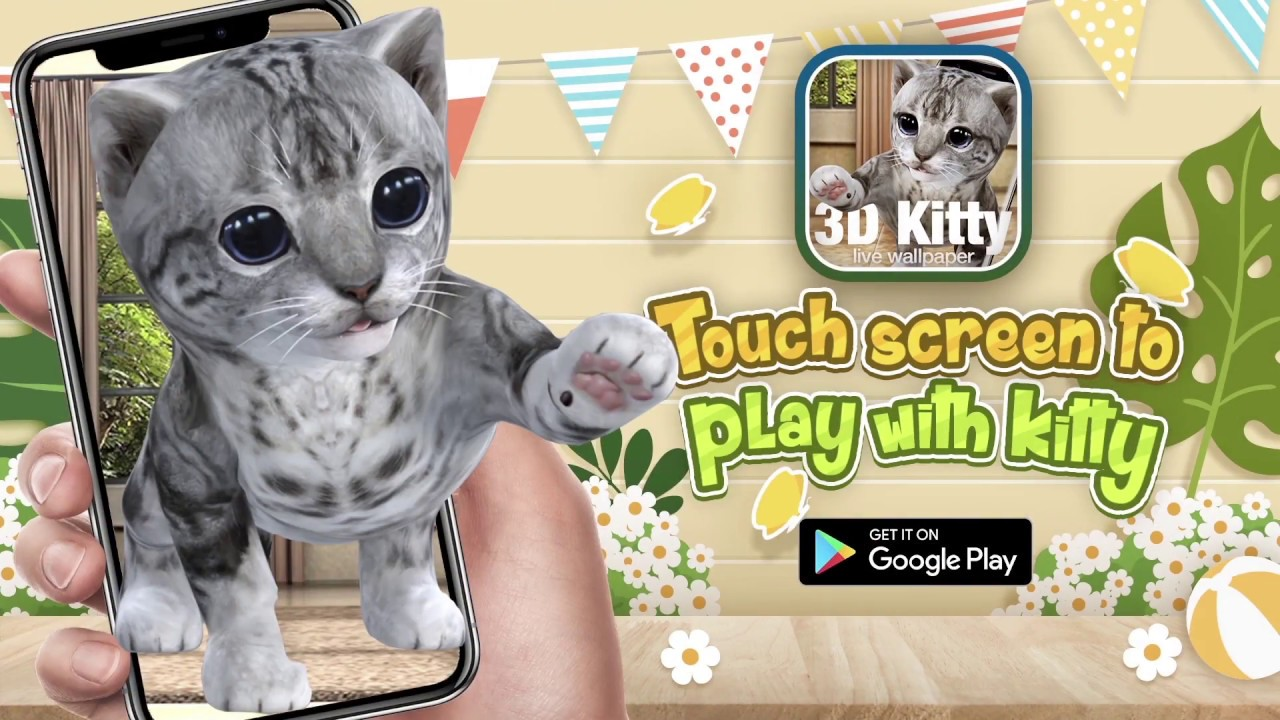 3d Cute Kitty In The Room 3d Cat Live Wallpaper On Android Youtube
