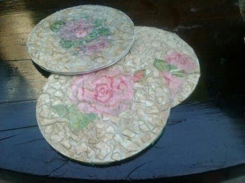 DIY POSAVASOS CON CDS  tcnica decoupage   Coasters