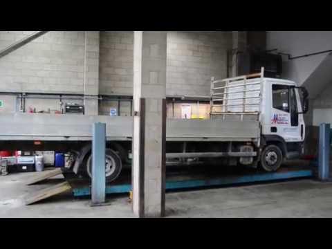 Tecalemit / Laycock 4 post 8 tonne Vehicle Lift FOR SALE - Lorry Truck Ramp  HGV Column Lift FULL HD