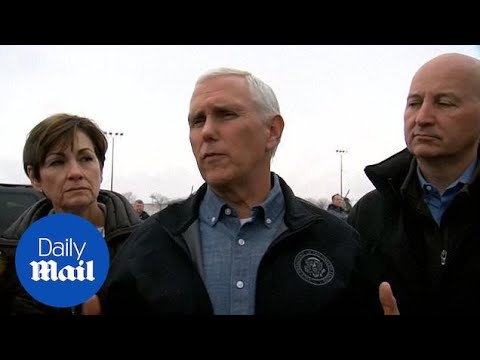 Mike Pence visits the flood disaster area in Nebraska