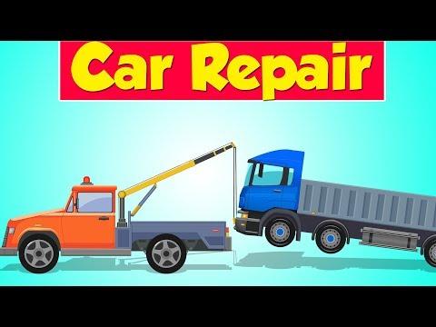 Tow Truck Garage   Truck Cartoon   Car Repair   Truck Service