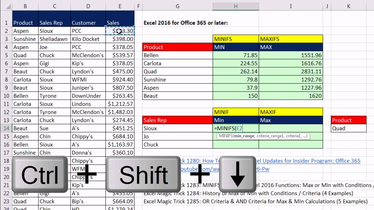 Excel Magic Trick 20 MINIFS & MAXIFS Excel 20 Functions Max or Min  with Conditions / Criteria