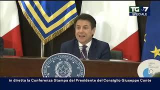Palazzo Chigi, la conferenza stampa del Premier Giuseppe Conte