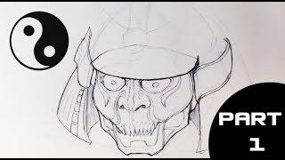 How to Draw a Samurai Helmet 1/2 - Draw Fantasy Art