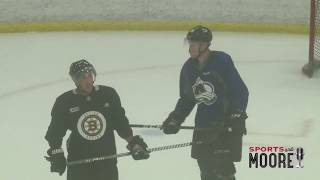 Crosby, Marchand, MacKinnon back home training