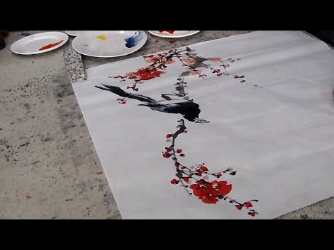 Chinese Art Painting : Magpie and Plum Blossoms