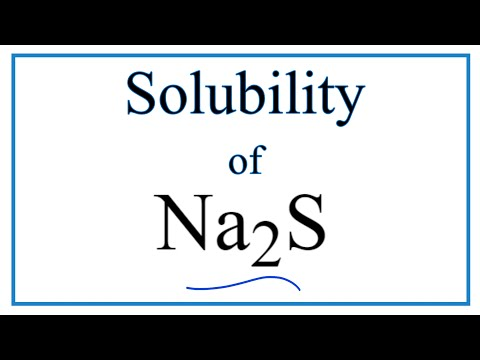 Is Na2S Soluble Or Insoluble In Water?