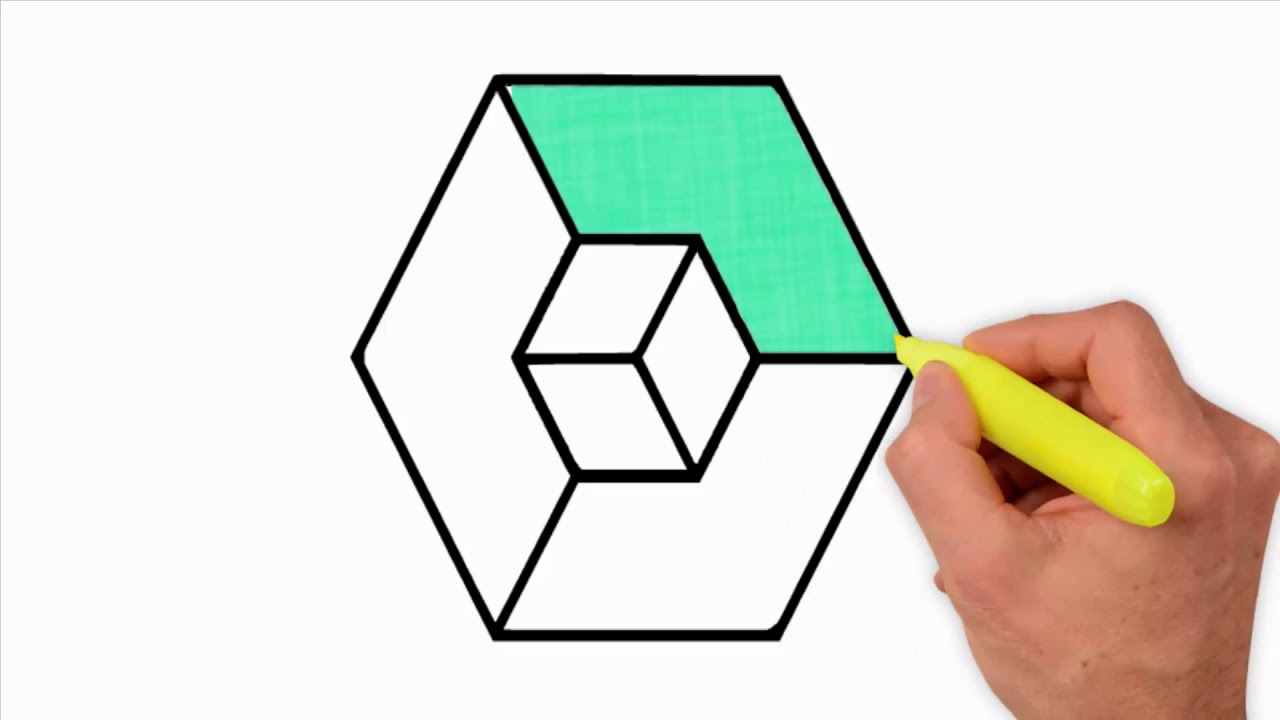 Coloring Pages-Drawing a 22D Cube - 22d drawing a simple cube - how to draw  22d cube