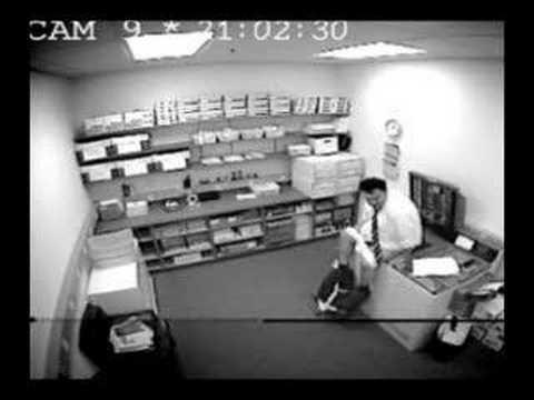 fat guy breaks photocopier on camera