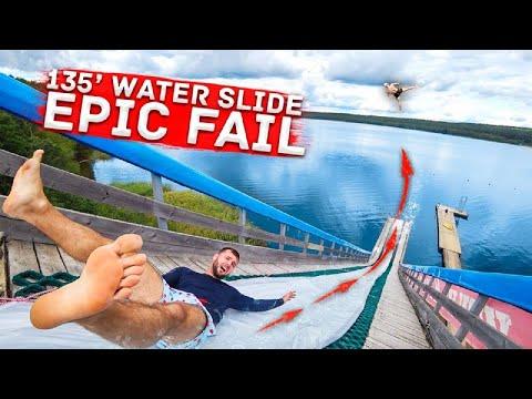 Made a HUGE WATERSLIDE   water slipnslide vs skiing EPIC FAIL  