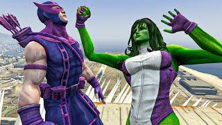 She Hulk vs Hawkeye   Lady Hulk killed Hawkeye Jumps Fails Funny Moments GTA 5 Water Ragdolls
