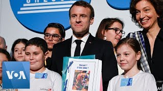 French President Macron Attends UNESCO Event on Child Rights Anniversary