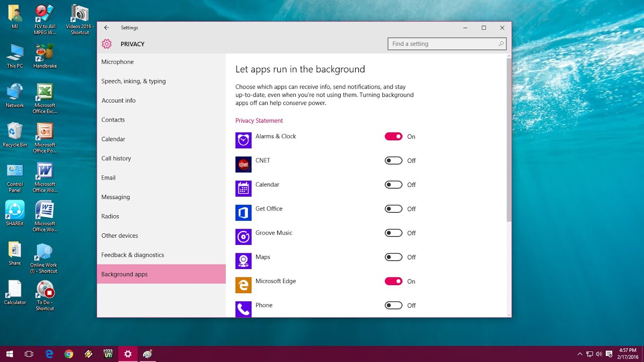 How to Turn off Background Running Apps in Windows 10 - YouTube
