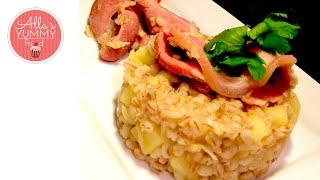 Pearl Barley & Bacon Recipe - Latvian Recipe - Каша перловая с беконом