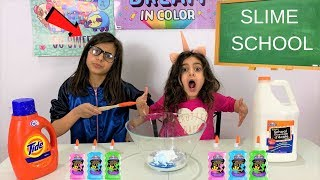 Kids Pretend Play First Day at SLIME SCHOOL!! funny video