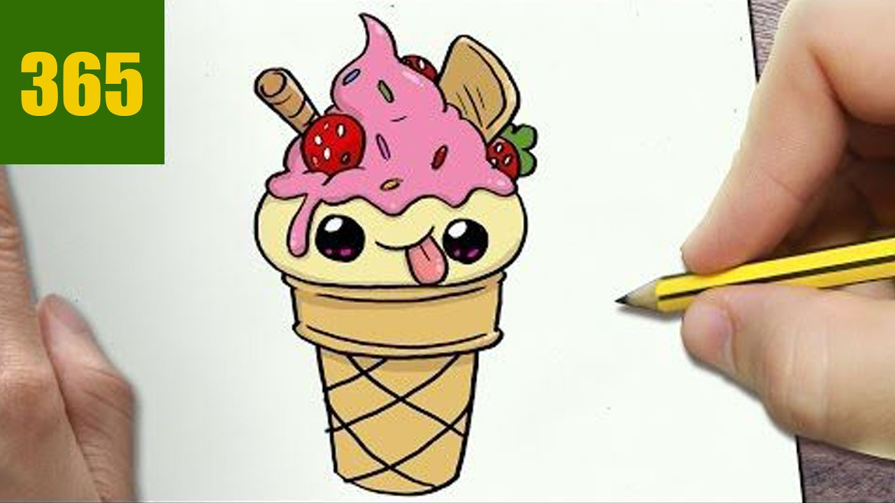HOW TO DRAW A ICE CREAM CONE CUTE, Easy step by step ...
