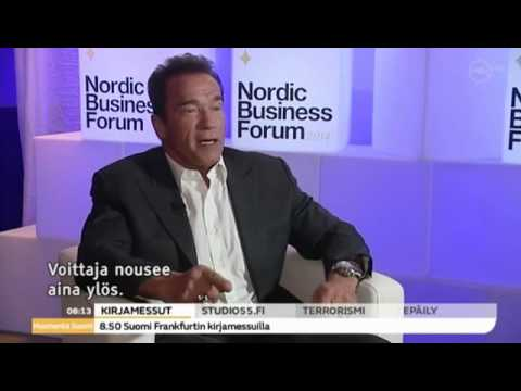 Arnold Schwarzenegger on Good Morning Finland (10/10/14) Huomenta Suomi tv-show