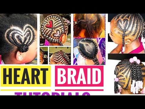 how-to-make-braided-heart-(5-tutorials!)-||-heart-design-on-natural-hair-compilation.
