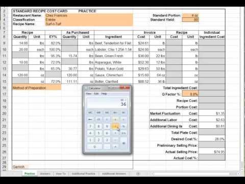 Recipe Cost Card Chap 5 Hri 251 Youtube