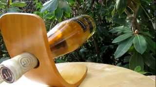 Wine Bottle Holder - Self Balancing - Fustic Wood - Www.heartwoodgifts.com