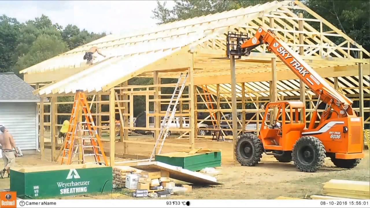 pole barn build 3 framing and roof truss placement time lapse [ 1280 x 720 Pixel ]