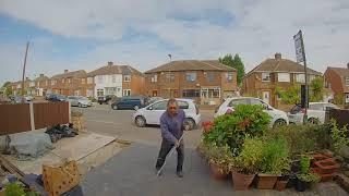 Nest smart doorbell, martial arts with broom
