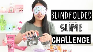 TRYING TO MAKE NO GLUE FLUFFY SLIME BLINDFOLDED!