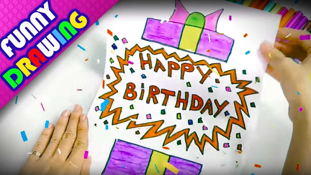 DIY - How to make a Birthday Gift easy - Dạy bé vẽ và tô màu hộp quà sinh nhật