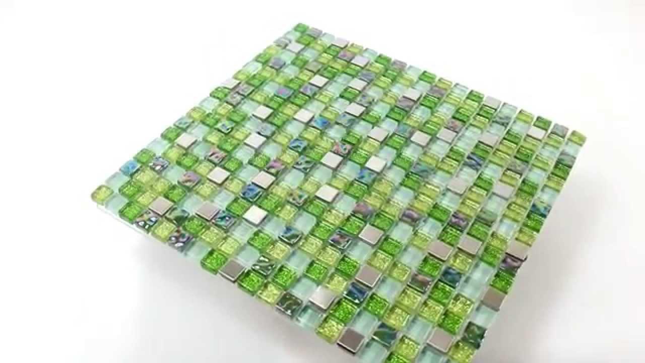 Mosaikfliesen grün  Glas Edelstahl Mosaik Fliesen Grün Mix - YouTube