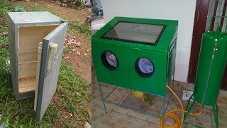 How to make Homemade Sand Blaster Cabinet from old Fridge