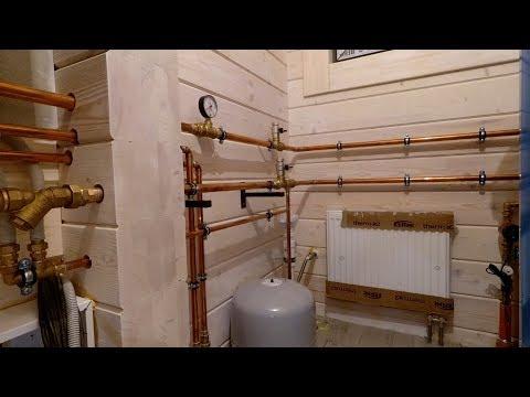 Котельная частного дома, обвязка медью, отопление, водоснабжение, дом из клееного бруса