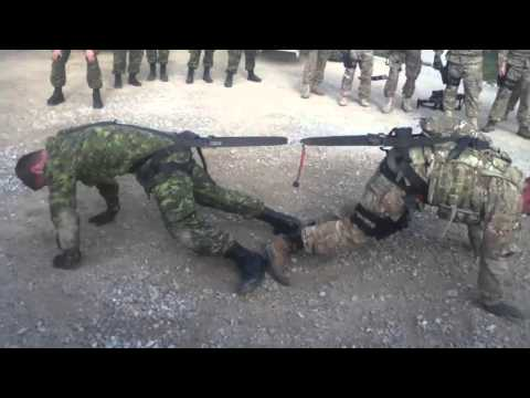 Canadian Soldier vs  American Soldier Intense Tug of War