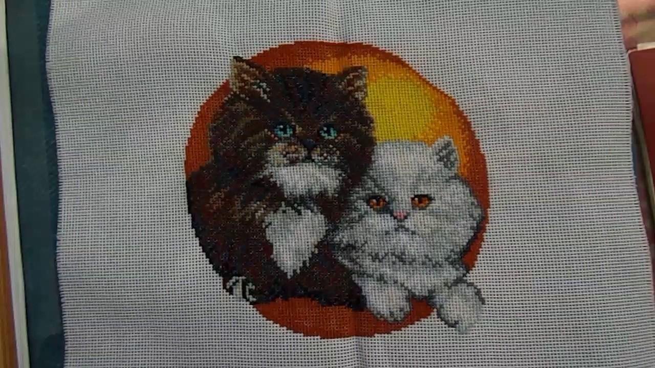 Вышивка кошка на софе