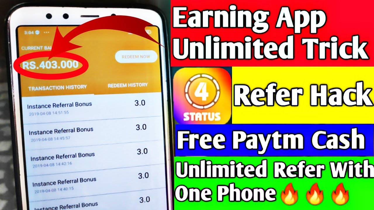 Earning App Unlimited Trick | 4Status Unlimited Refer Hack | Free Paytm  Cash daily 500 With PROOF🔥
