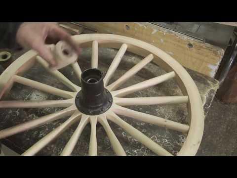 The 1907 Everybody's car, wood wheel repairs.