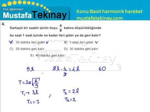 Basit Harmonik Hareket Soru Çözümü Test 1
