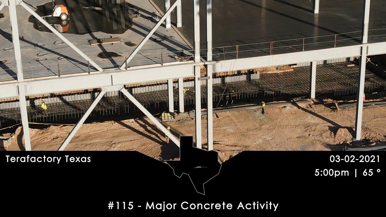 Tesla Terafactory Texas Update #115 in 4K: Major Concrete Activities - 03/02/21 (5:00pm | 65°F)