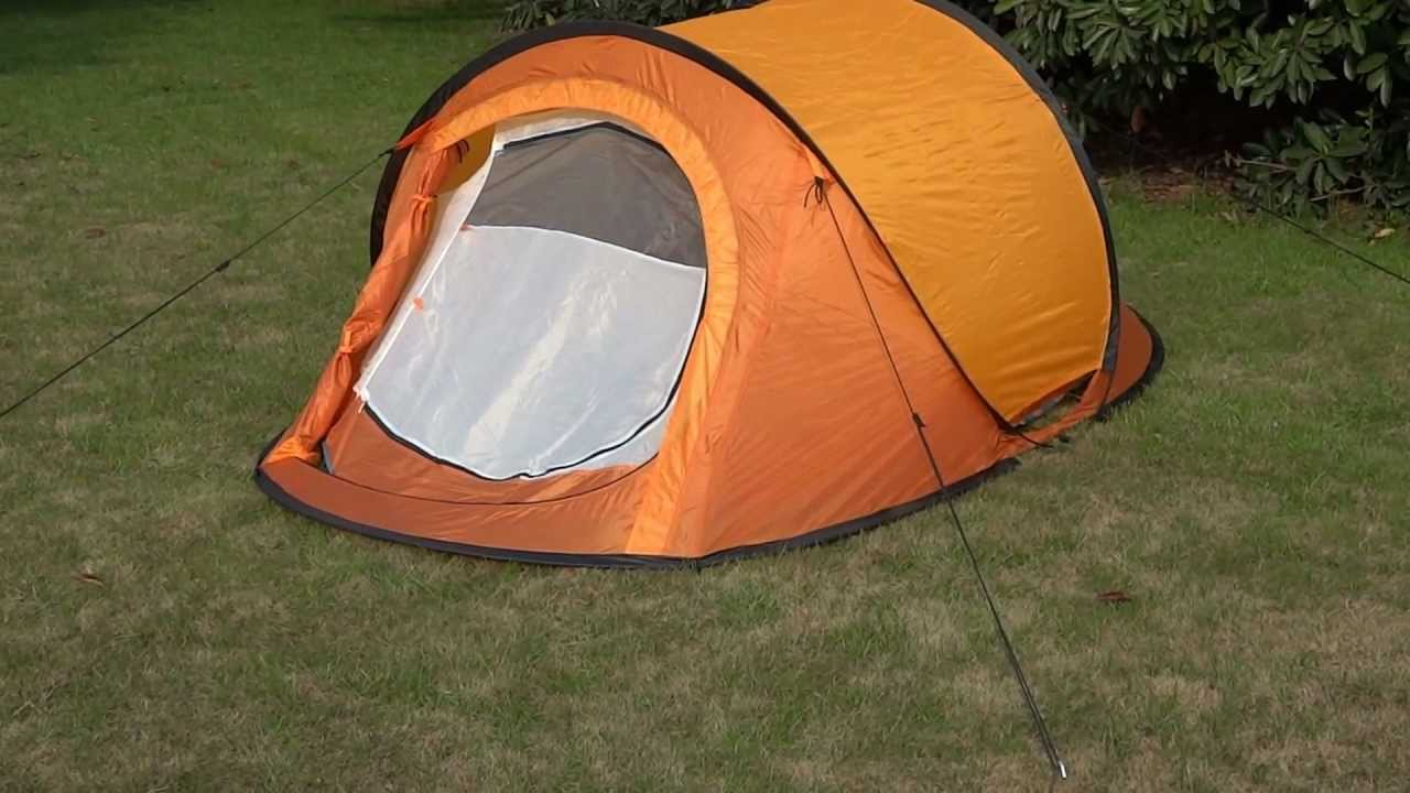 Double layers 2 man pop up tent with two doors & Double layers 2 man pop up tent with two doors - YouTube