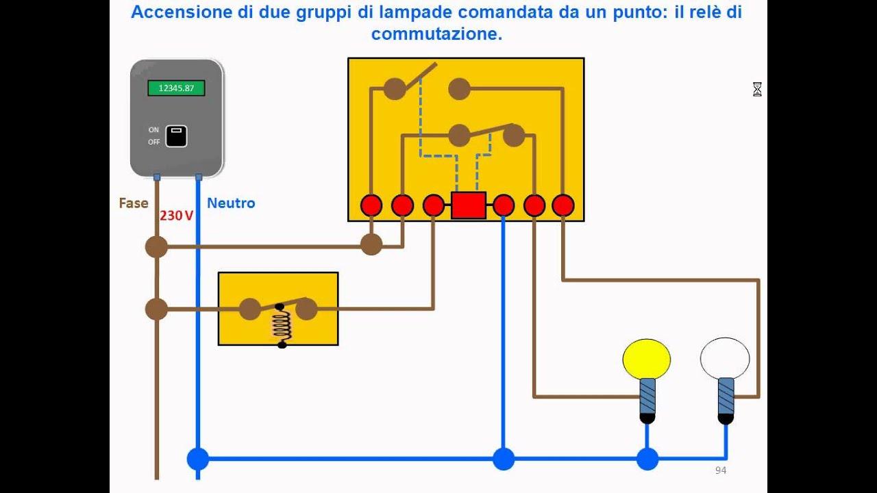 Schema Elettrico Relè Commutatore : T rele commutazione singolo punto youtube
