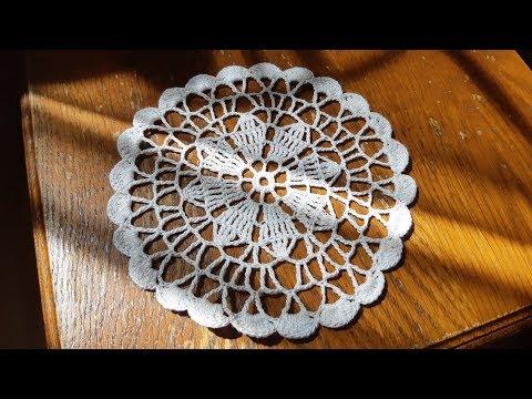 Круглая салфетка маленькая крючком схема