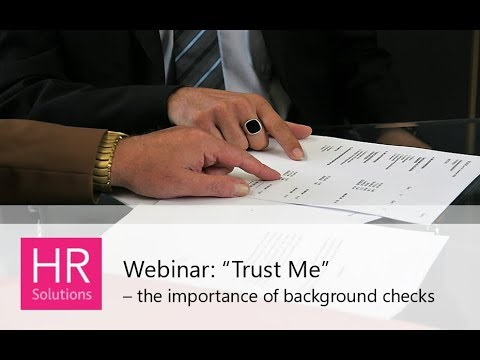 Trust Me - the importance of background checks