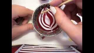 Christmas Nail Art - Water Marble Candy Cane