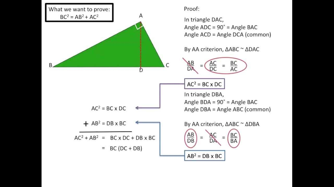 Proving Pythagorean Theorem With Similar Triangles