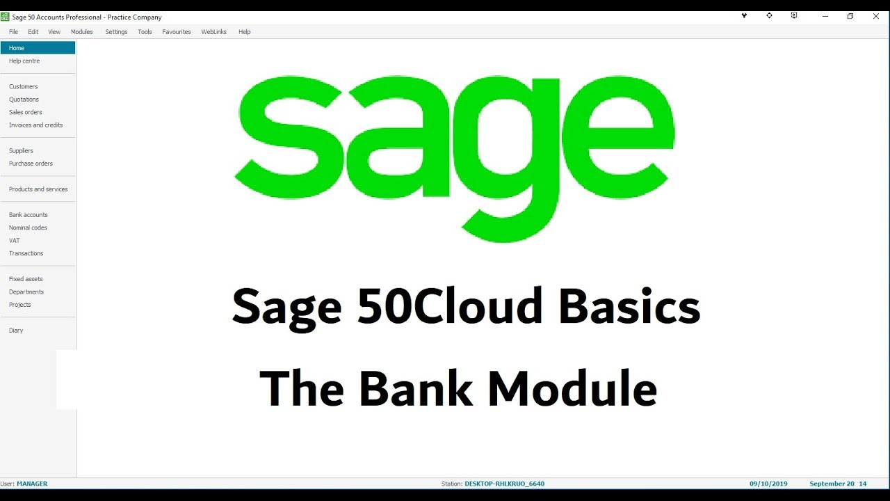 Sage 50Cloud Tutorial - Adding & Editing Bank Accounts - Lesson 9