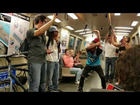 Dancers on BART in Oakland
