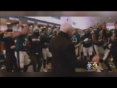 Owner Jeffrey Lurie Does Victory Dance With Eagles Players