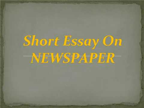 short essay on newspaper  youtube