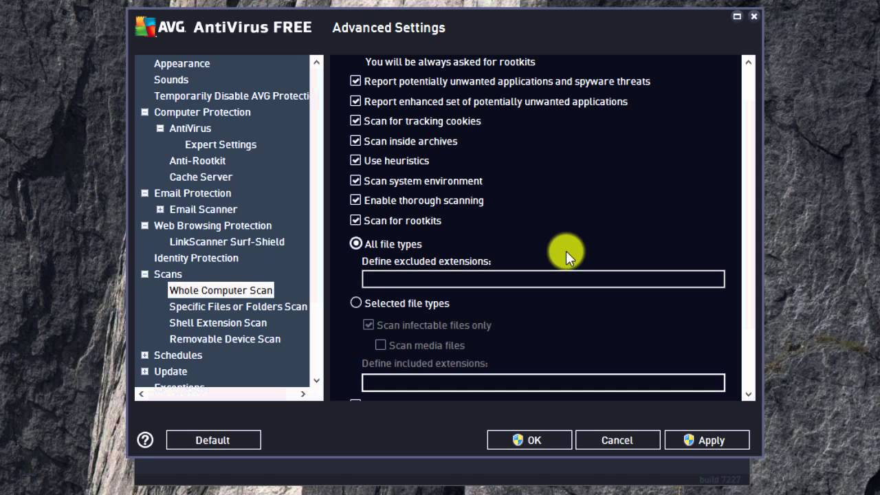 AVG 2016 Free Antivirus advanced settings