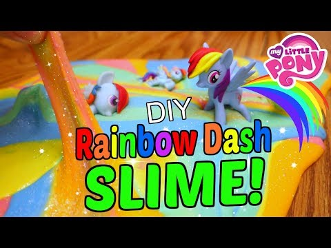 🌈DIY MY LITTLE PONY RAINBOW DASH SLIME! MLP Glitter Sparkles Slime🌈